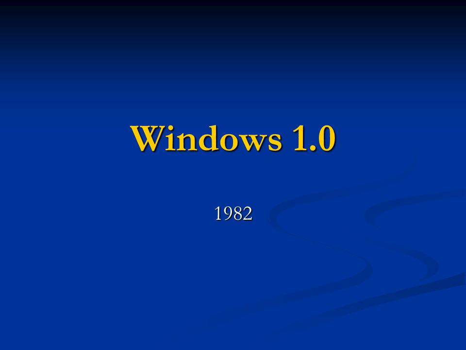 Windows 1.0 1982