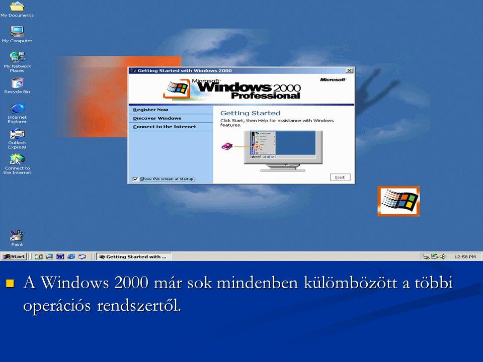 AWindows 2000 már sok mindenben külömbözött a többi operációs rendszertől.