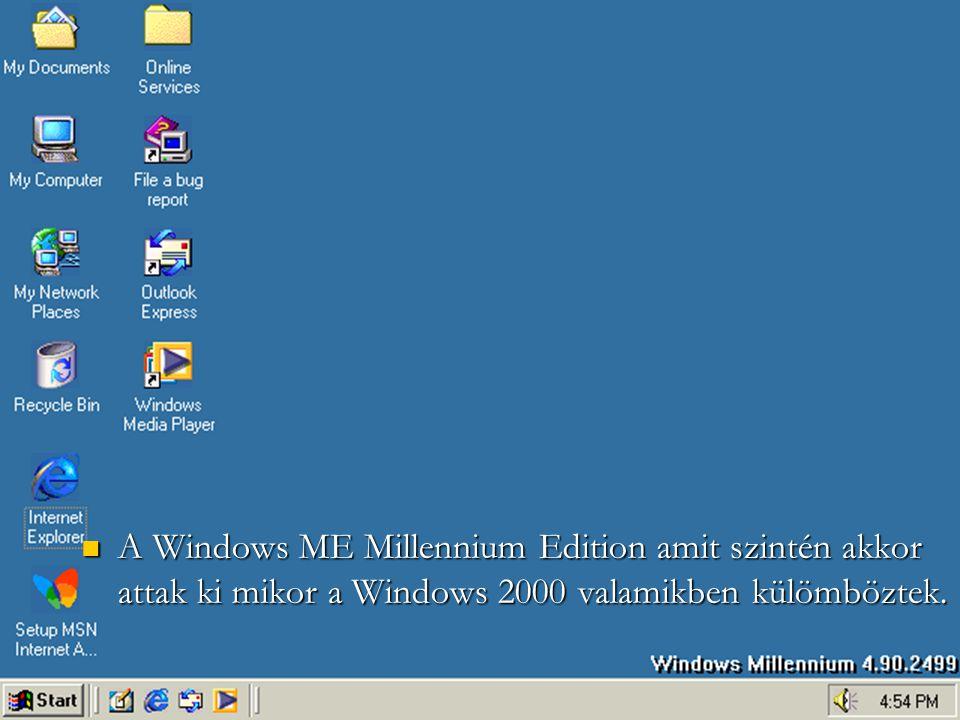 AWindows ME Millennium Edition amit szintén akkor attak ki mikor a Windows 2000 valamikben külömböztek.