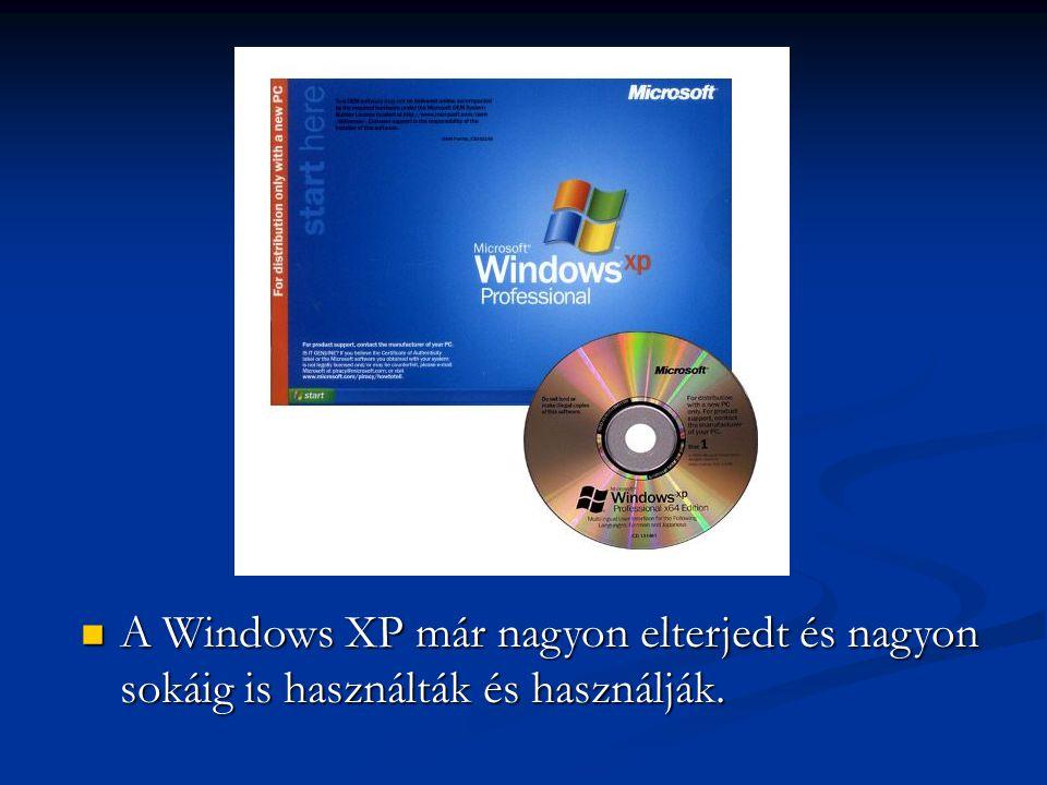 AWindows XP már nagyon elterjedt és nagyon sokáig is használták és használják.