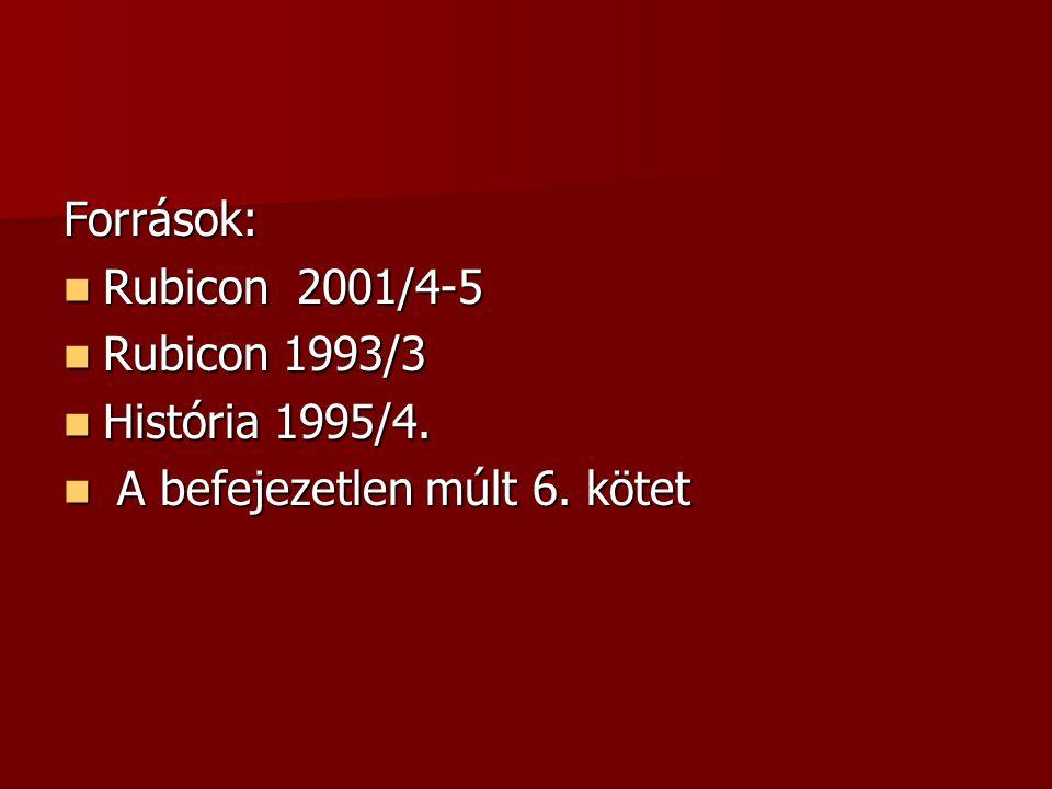 Források: Rubicon 2001/4-5 Rubicon 2001/4-5 Rubicon 1993/3 Rubicon 1993/3 História 1995/4.