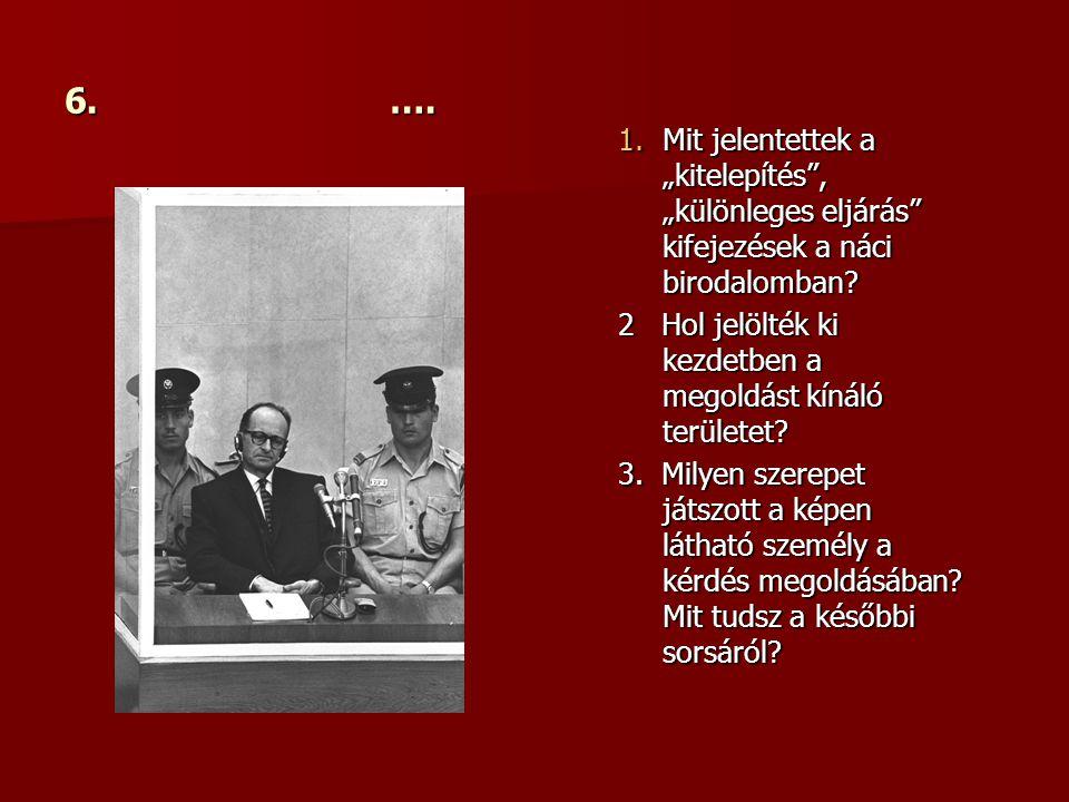 """6. …. 1.Mit jelentettek a """"kitelepítés , """"különleges eljárás kifejezések a náci birodalomban."""