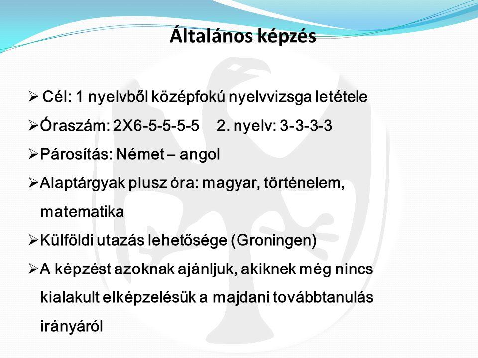  Nyelvi előkészítő évfolyam- angol és német nyelven  Tehetséggondozó tanterven alapuló képzés  Óraszám: biológia: 2-2-4-(2+2)-(2+2)  3 év után vál
