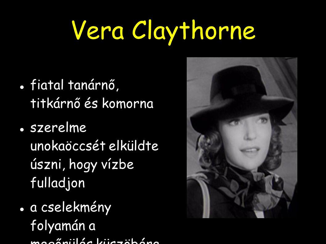 Vera Claythorne fiatal tanárnő, titkárnő és komorna szerelme unokaöccsét elküldte úszni, hogy vízbe fulladjon a cselekmény folyamán a megőrülés küszöb