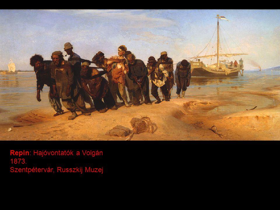 Repin: Hajóvontatók a Volgán 1873. Szentpétervár, Russzkij Muzej