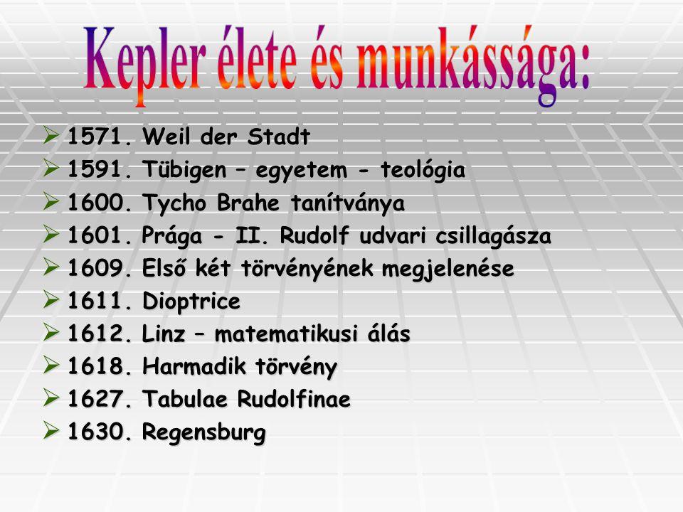 1111571. Weil der Stadt 1111591. Tübigen – egyetem - teológia 1111600. Tycho Brahe tanítványa 1111601. Prága - II. Rudolf udvari csill