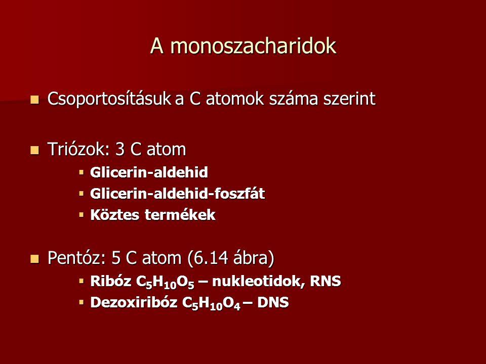 A monoszacharidok Csoportosításuk a C atomok száma szerint Csoportosításuk a C atomok száma szerint Triózok: 3 C atom Triózok: 3 C atom  Glicerin-ald
