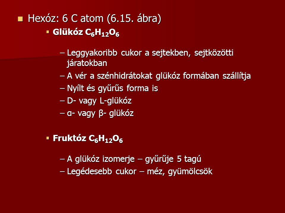 Hexóz: 6 C atom (6.15. ábra) Hexóz: 6 C atom (6.15. ábra)  Glükóz C 6 H 12 O 6 –Leggyakoribb cukor a sejtekben, sejtközötti járatokban –A vér a szénh