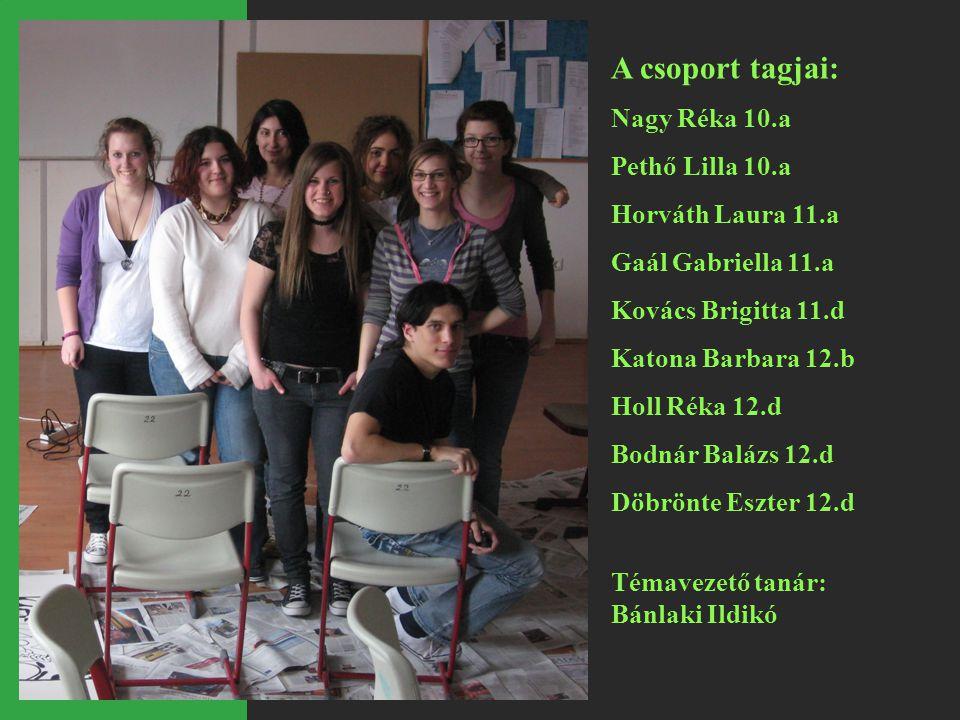 A csoport tagjai: Nagy Réka 10.a Pethő Lilla 10.a Horváth Laura 11.a Gaál Gabriella 11.a Kovács Brigitta 11.d Katona Barbara 12.b Holl Réka 12.d Bodná
