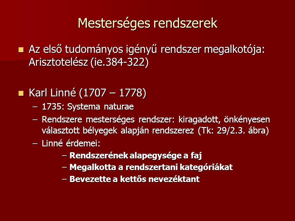 A rendszerezés alapegysége: a faj Mindazon egyedek egy fajba tartoznak, melyek: lényeges külső és belső tulajdonságaikban megegyeznek lényeges külső és belső tulajdonságaikban megegyeznek szaporodni képesek egymással szaporodni képesek egymással utóduk is termékeny utóduk is termékeny Linné a fajokat állandónak tekintette