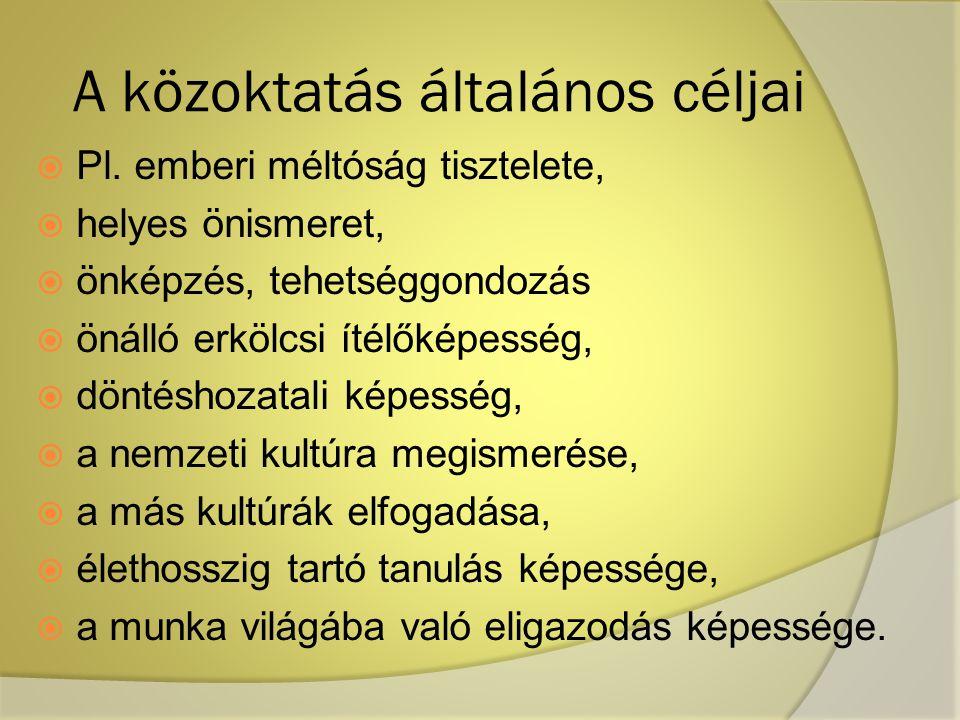 A közoktatás általános céljai  Pl.