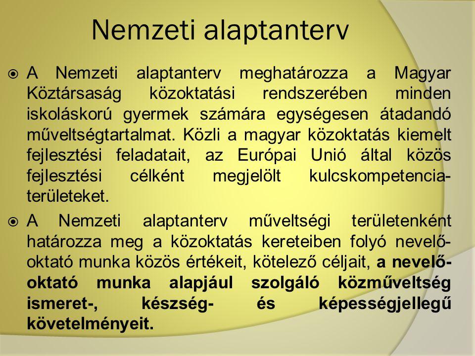 Nemzeti alaptanterv  A Nemzeti alaptanterv meghatározza a Magyar Köztársaság közoktatási rendszerében minden iskoláskorú gyermek számára egységesen á