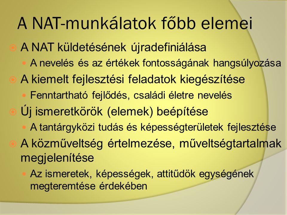 A NAT-munkálatok főbb elemei  A NAT küldetésének újradefiniálása A nevelés és az értékek fontosságának hangsúlyozása  A kiemelt fejlesztési feladato