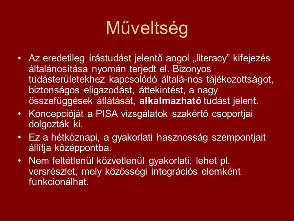 """Műveltség Az eredetileg írástudást jelentő angol """"literacy kifejezés általánosítása nyomán terjedt el."""