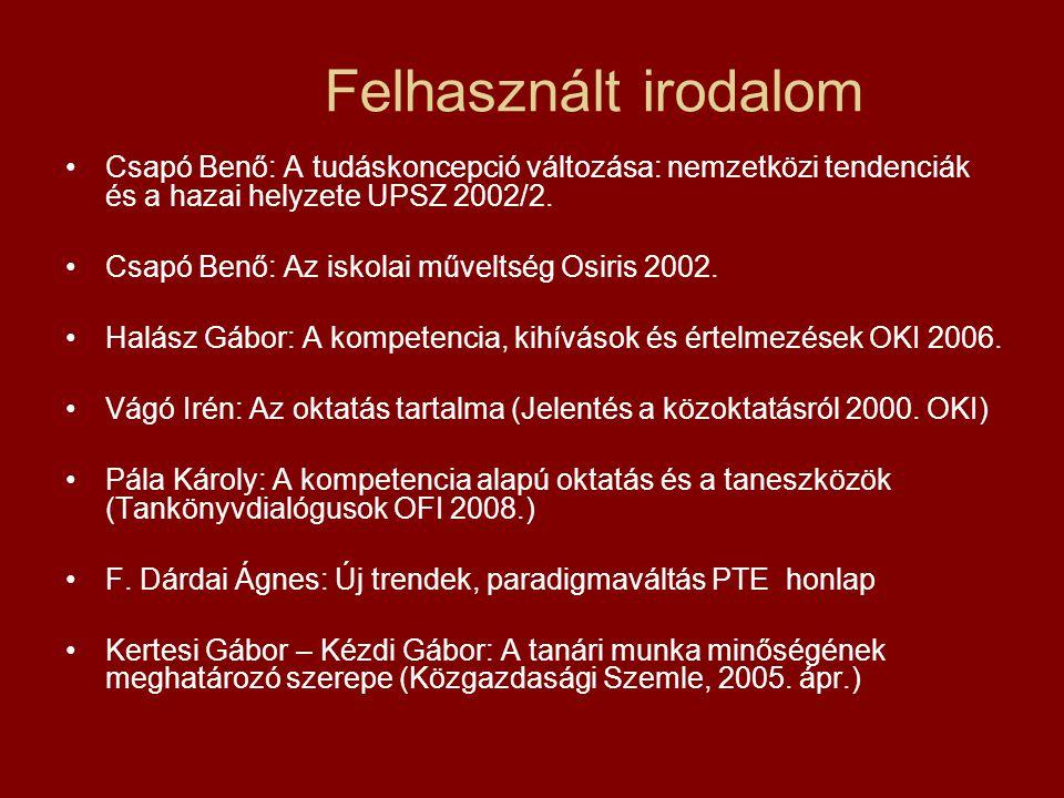 Felhasznált irodalom Csapó Benő: A tudáskoncepció változása: nemzetközi tendenciák és a hazai helyzete UPSZ 2002/2. Csapó Benő: Az iskolai műveltség O