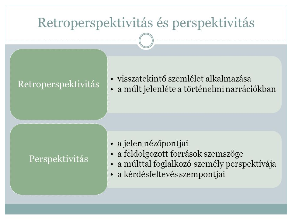 Retroperspektivitás és perspektivitás visszatekintő szemlélet alkalmazása a múlt jelenléte a történelmi narrációkban Retroperspektivitás a jelen nézőpontjai a feldolgozott források szemszöge a múlttal foglalkozó személy perspektívája a kérdésfeltevés szempontjai Perspektivitás