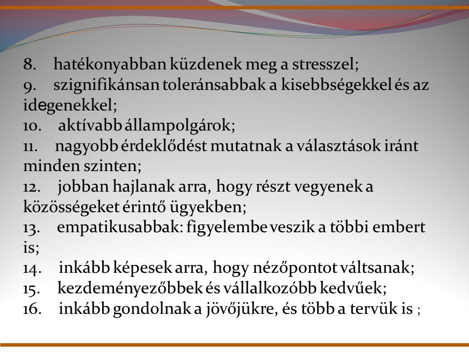 8. hatékonyabban küzdenek meg a stresszel; 9. szignifikánsan toleránsabbak a kisebbségekkel és az id e genekkel; 10. aktívabb állampolgárok; 11. nagyo