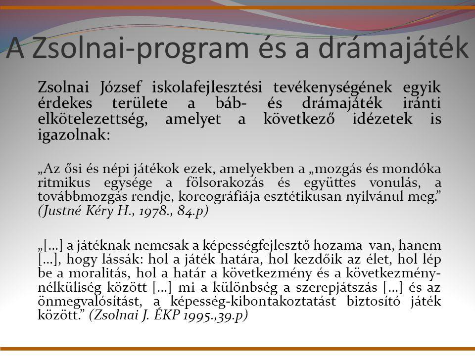 A Zsolnai-program és a drámajáték Zsolnai József iskolafejlesztési tevékenységének egyik érdekes területe a báb- és drámajáték iránti elkötelezettség,