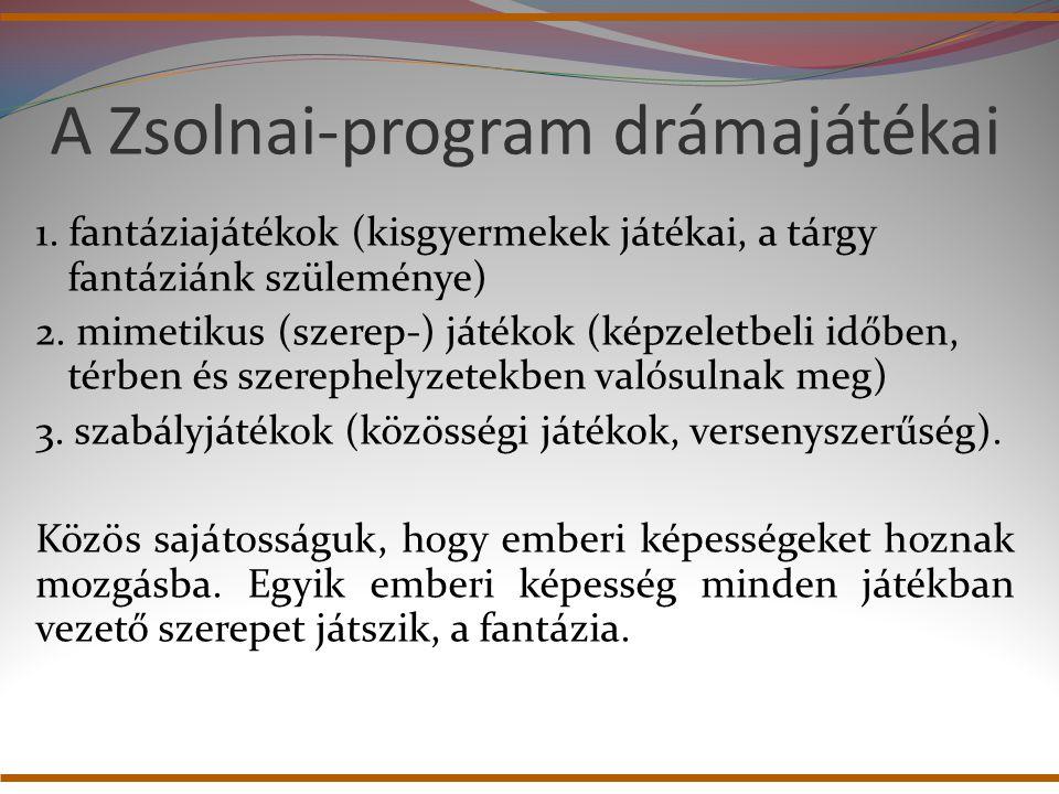 A Zsolnai-program drámajátékai 1. fantáziajátékok (kisgyermekek játékai, a tárgy fantáziánk szüleménye) 2. mimetikus (szerep-) játékok (képzeletbeli i