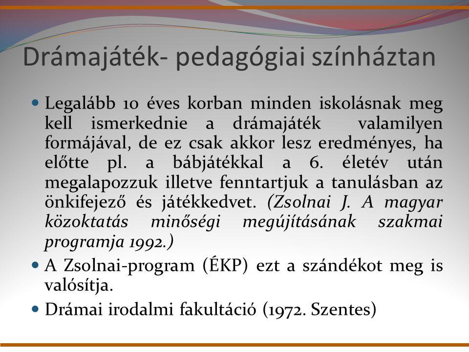 A drámapedagógia fejlődése 1.Iskoladrámák 2. Gyermek- és diákszínjátszás 3.