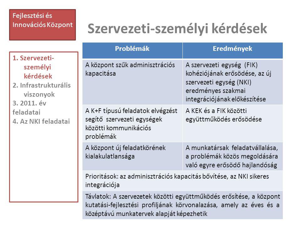 Szervezeti-személyi kérdések 13 Fejlesztési és Innovációs Központ 1. Szervezeti- személyi kérdések 2. Infrastrukturális viszonyok 3. 2011. év feladata