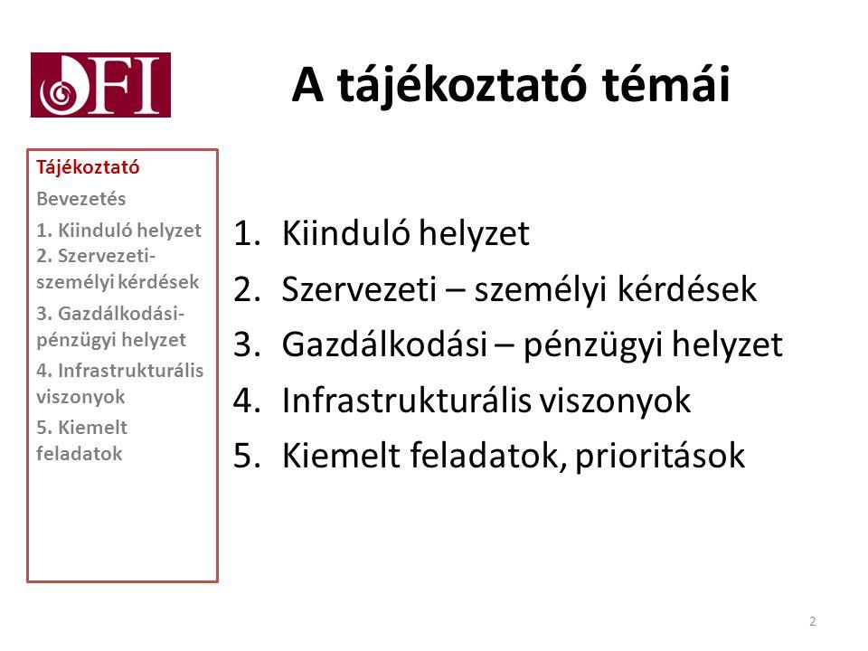 A tájékoztató témái 1.Kiinduló helyzet 2.Szervezeti – személyi kérdések 3.Gazdálkodási – pénzügyi helyzet 4.Infrastrukturális viszonyok 5.Kiemelt feladatok, prioritások Tájékoztató Bevezetés 1.