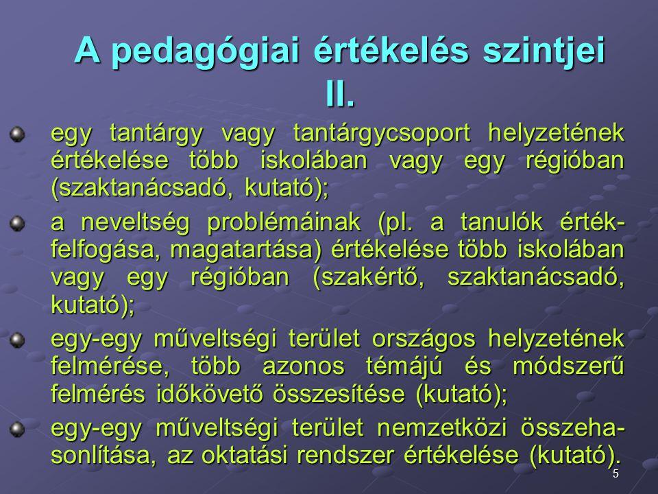 5 A pedagógiai értékelés szintjei II. egy tantárgy vagy tantárgycsoport helyzetének értékelése több iskolában vagy egy régióban (szaktanácsadó, kutató