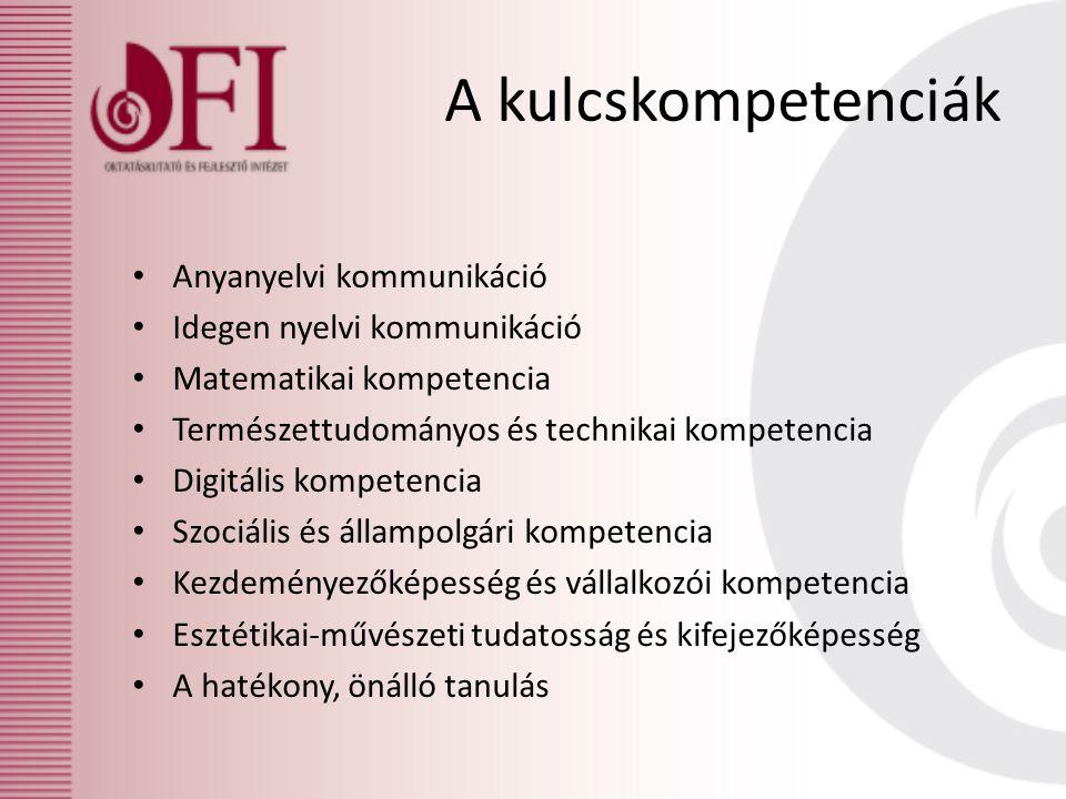 A kulcskompetenciák Anyanyelvi kommunikáció Idegen nyelvi kommunikáció Matematikai kompetencia Természettudományos és technikai kompetencia Digitális kompetencia Szociális és állampolgári kompetencia Kezdeményezőképesség és vállalkozói kompetencia Esztétikai-művészeti tudatosság és kifejezőképesség A hatékony, önálló tanulás