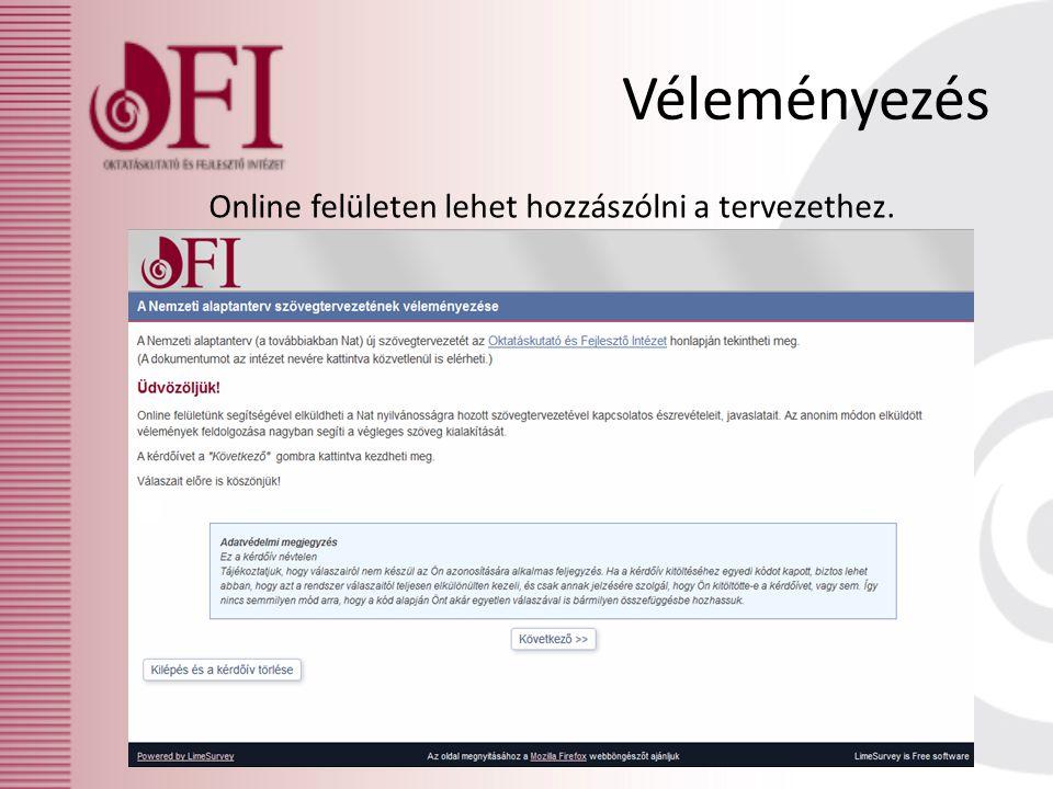 Véleményezés Online felületen lehet hozzászólni a tervezethez.