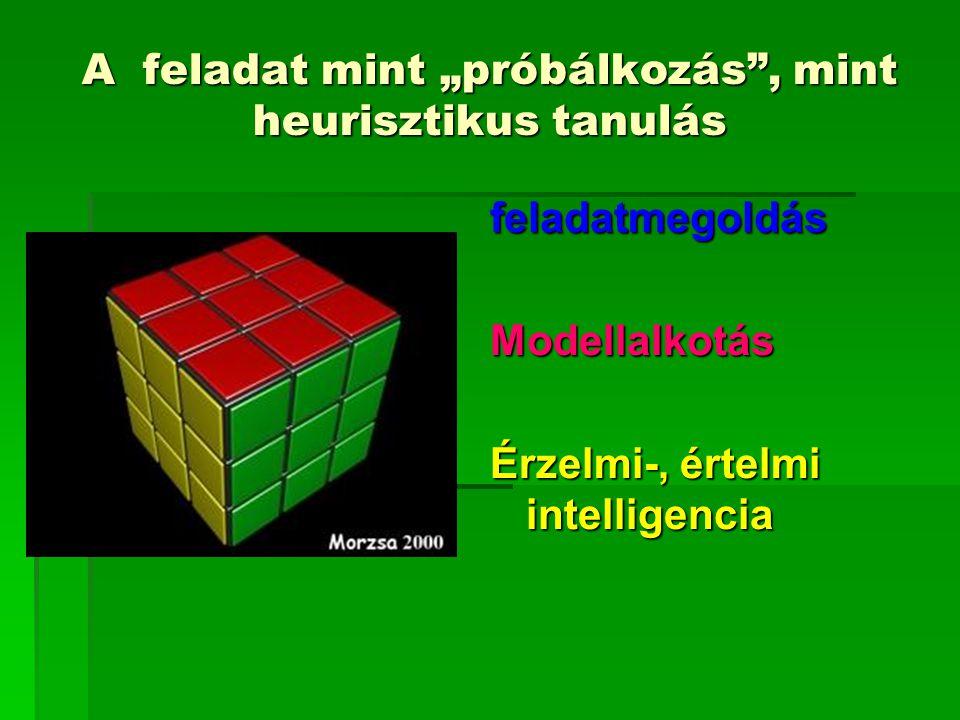 """A feladat mint """"próbálkozás"""", mint heurisztikus tanulás feladatmegoldásModellalkotás Érzelmi-, értelmi intelligencia"""