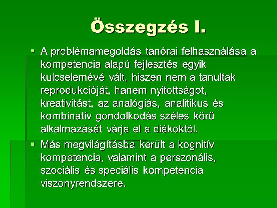 Összegzés II.Összegzés II.