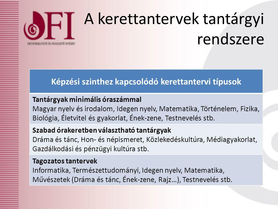 A kerettantervek tantárgyi rendszere Képzési szinthez kapcsolódó kerettantervi típusok Tantárgyak minimális óraszámmal Magyar nyelv és irodalom, Idege