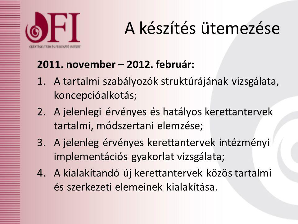 A készítés ütemezése 2011. november – 2012. február: 1.A tartalmi szabályozók struktúrájának vizsgálata, koncepcióalkotás; 2.A jelenlegi érvényes és h