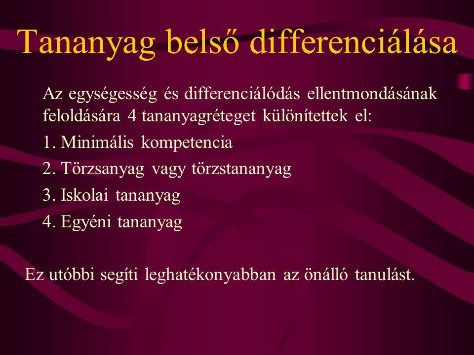Tananyag belső differenciálása Az egységesség és differenciálódás ellentmondásának feloldására 4 tananyagréteget különítettek el: 1. Minimális kompete