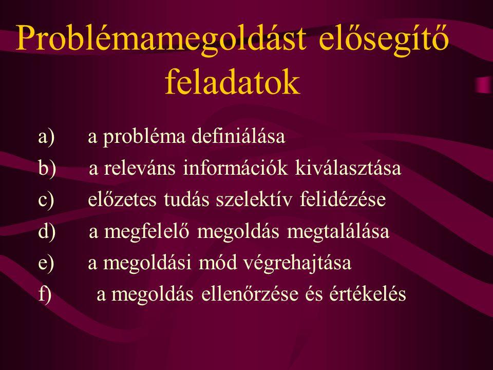 Problémamegoldást elősegítő feladatok a) a probléma definiálása b) a releváns információk kiválasztása c) előzetes tudás szelektív felidézése d) a meg