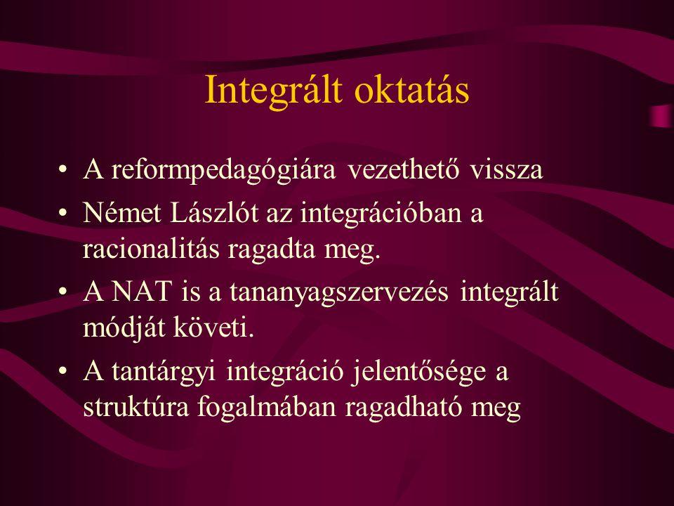Integrált oktatás A reformpedagógiára vezethető vissza Német Lászlót az integrációban a racionalitás ragadta meg.