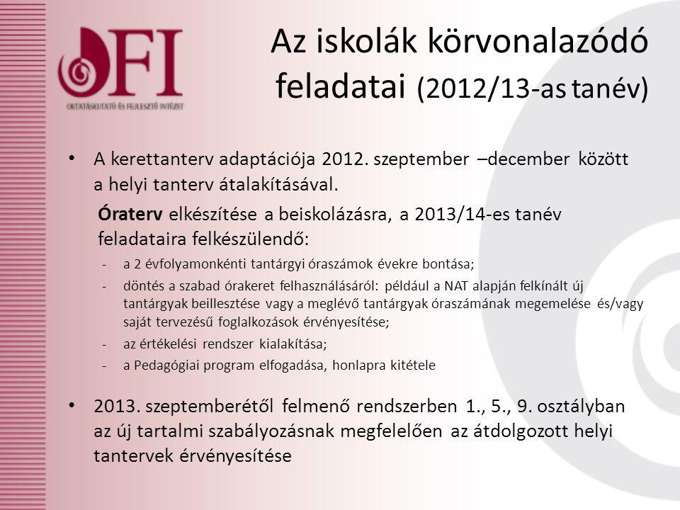 Az iskolák körvonalazódó feladatai (2012/13-as tanév) A kerettanterv adaptációja 2012. szeptember –december között a helyi tanterv átalakításával. Óra
