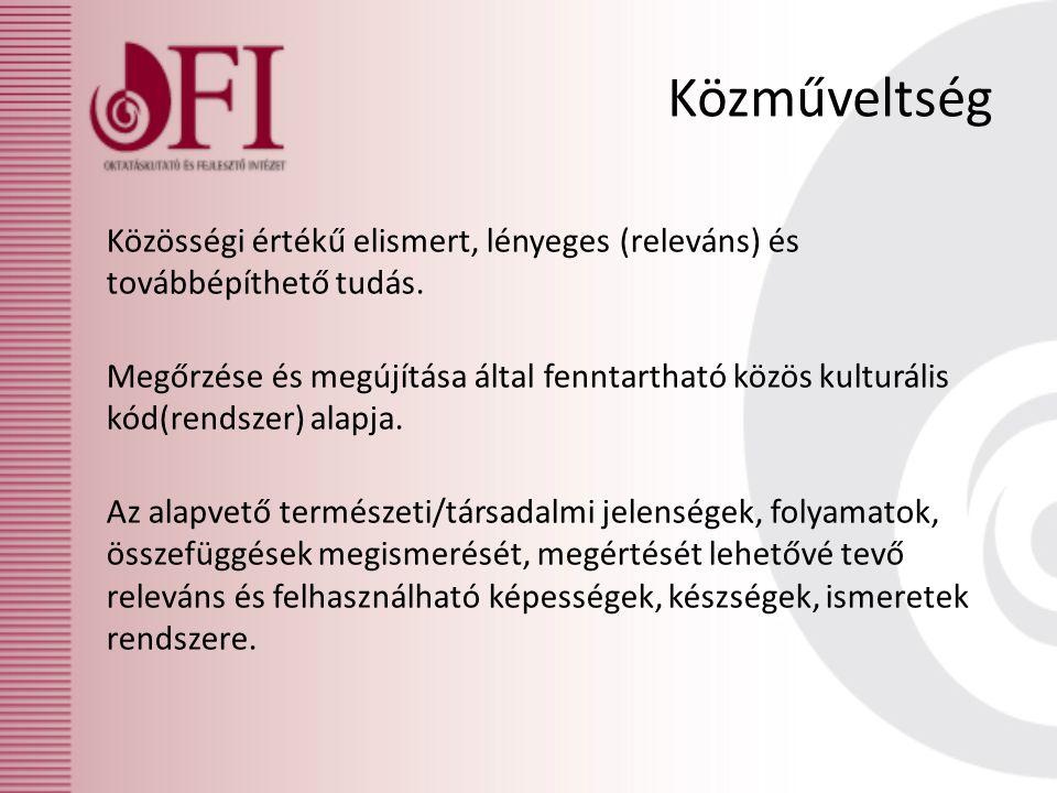 Közműveltség Közösségi értékű elismert, lényeges (releváns) és továbbépíthető tudás. Megőrzése és megújítása által fenntartható közös kulturális kód(r