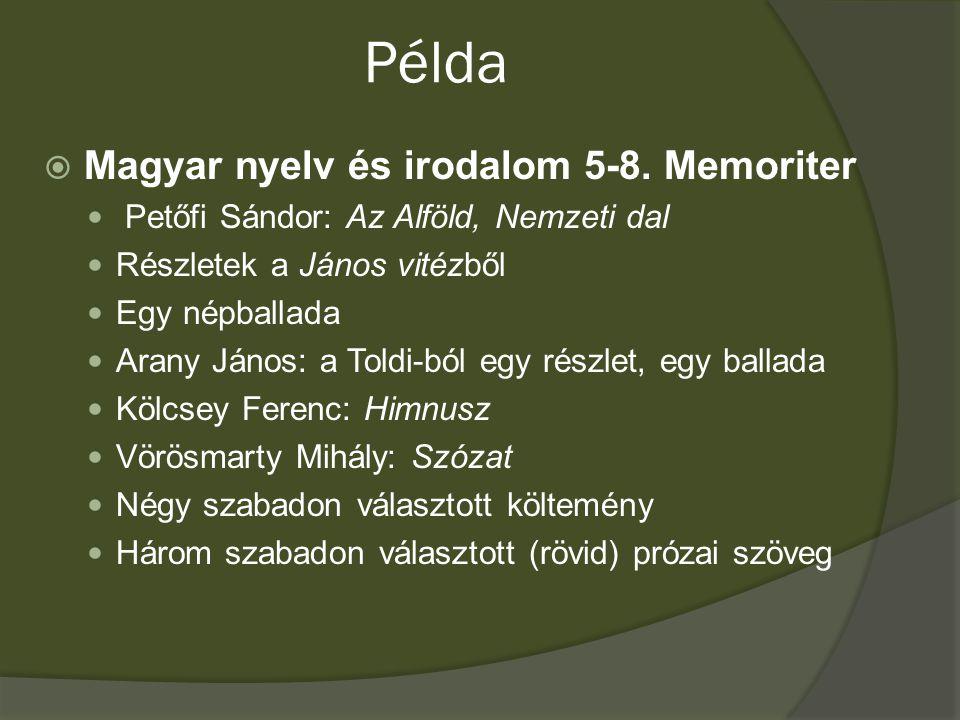 Példa  Magyar nyelv és irodalom 5-8.