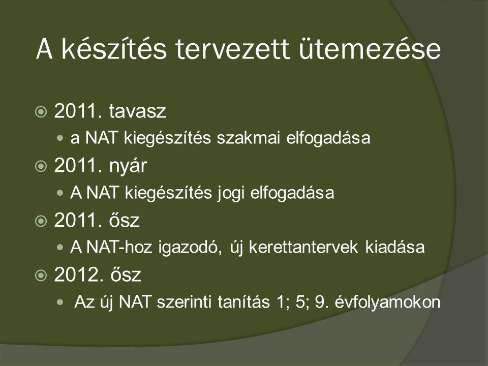 A készítés tervezett ütemezése  2011. tavasz a NAT kiegészítés szakmai elfogadása  2011.