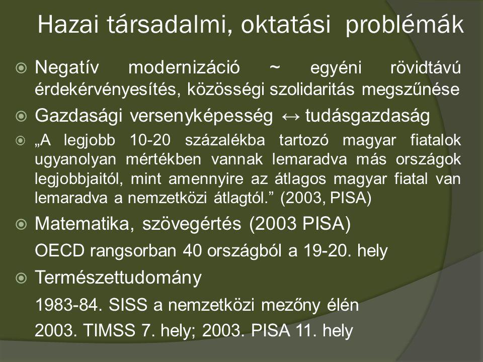 """A """"helyzet összegzése  """"A magyar oktatási rendszer az elmúlt harminc évben olyan gyors változássorozaton ment keresztül, amelynek igényei és elképzelései az oktatási rendszert kiérleletlenül, összecsiszolatlanul, sok esetben egymásnak részben ellentmondó hullámokban érték el. (Szárny és teher)  """"Magyarország a tanulás világában egyre jobban lemarad versenytársaitól."""