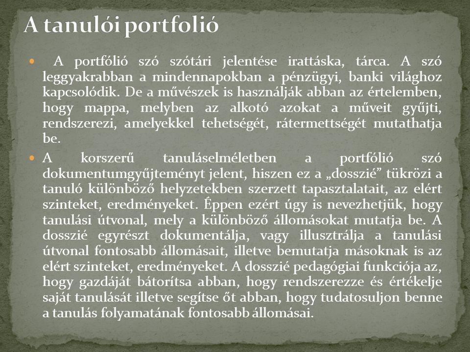 A portfólió szó szótári jelentése irattáska, tárca.