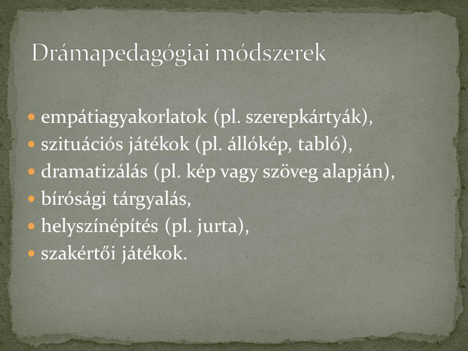 empátiagyakorlatok (pl.szerepkártyák), szituációs játékok (pl.