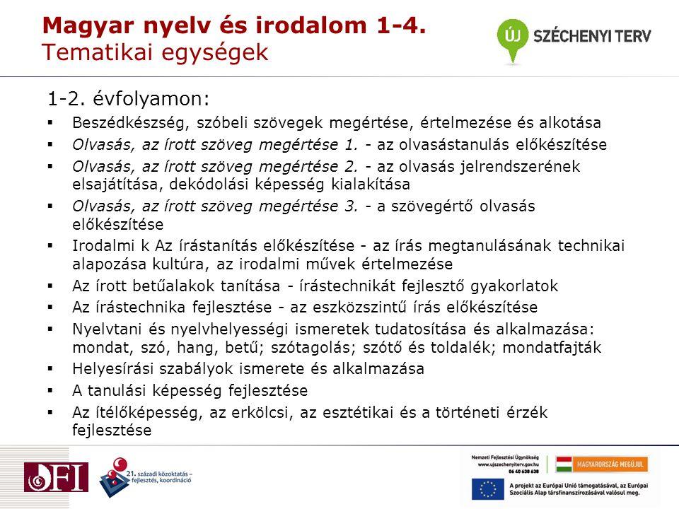 Magyar nyelv és irodalom 1-4. Tematikai egységek 1-2. évfolyamon:  Beszédkészség, szóbeli szövegek megértése, értelmezése és alkotása  Olvasás, az í