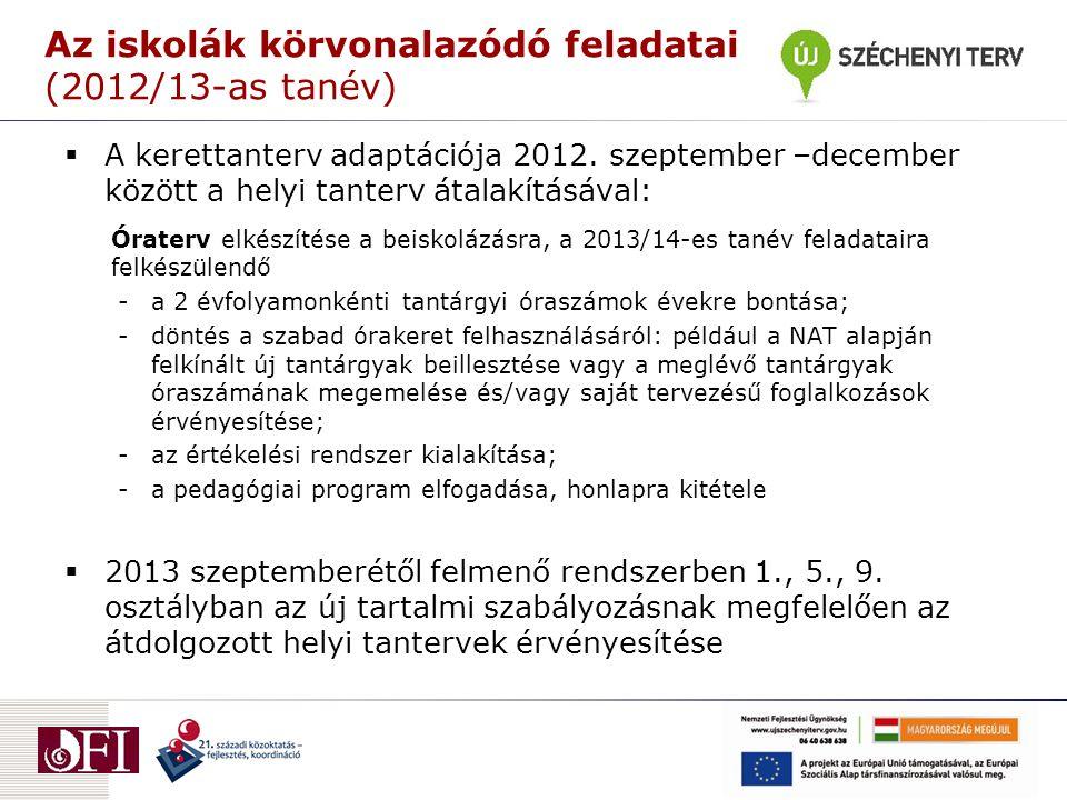 Az iskolák körvonalazódó feladatai (2012/13-as tanév)  A kerettanterv adaptációja 2012. szeptember –december között a helyi tanterv átalakításával: Ó