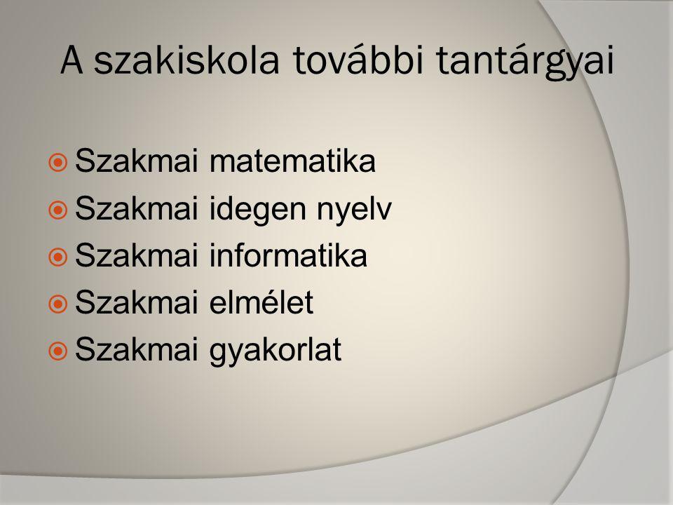 A szakiskola további tantárgyai  Szakmai matematika  Szakmai idegen nyelv  Szakmai informatika  Szakmai elmélet  Szakmai gyakorlat