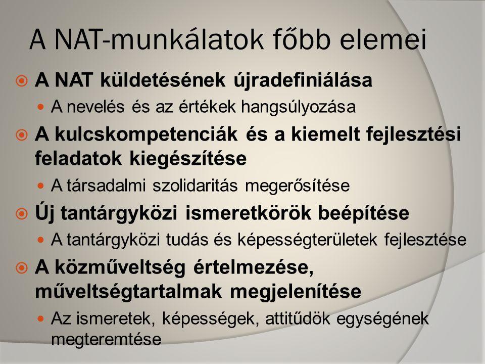 A NAT-munkálatok főbb elemei  A NAT küldetésének újradefiniálása A nevelés és az értékek hangsúlyozása  A kulcskompetenciák és a kiemelt fejlesztési feladatok kiegészítése A társadalmi szolidaritás megerősítése  Új tantárgyközi ismeretkörök beépítése A tantárgyközi tudás és képességterületek fejlesztése  A közműveltség értelmezése, műveltségtartalmak megjelenítése Az ismeretek, képességek, attitűdök egységének megteremtése
