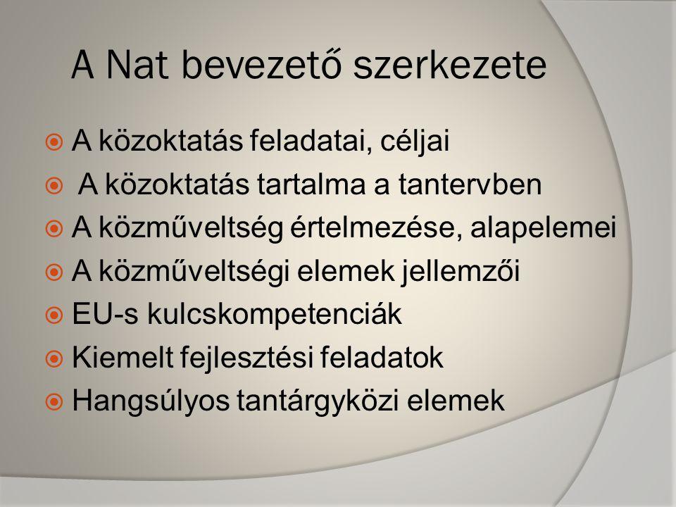 A Nat bevezető szerkezete  A közoktatás feladatai, céljai  A közoktatás tartalma a tantervben  A közműveltség értelmezése, alapelemei  A közműveltségi elemek jellemzői  EU-s kulcskompetenciák  Kiemelt fejlesztési feladatok  Hangsúlyos tantárgyközi elemek