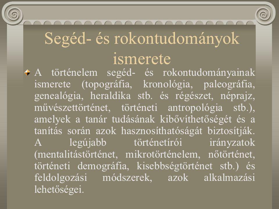 Segéd- és rokontudományok ismerete A történelem segéd- és rokontudományainak ismerete (topográfia, kronológia, paleográfia, genealógia, heraldika stb.
