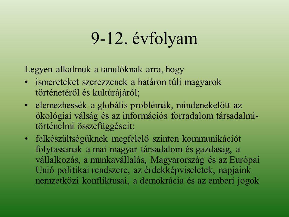 9-12. évfolyam Legyen alkalmuk a tanulóknak arra, hogy ismereteket szerezzenek a határon túli magyarok történetéről és kultúrájáról; elemezhessék a gl